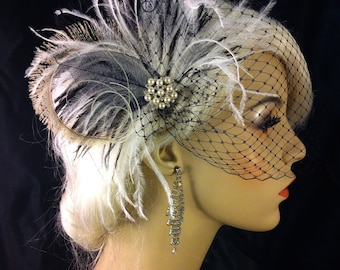 Fascinator, Wedding Head Piece, Bridal Hair Clip, Bridal Headpiece, Great Gatsby Headpiece, Wedding VeilBlack Ivory, Pearls