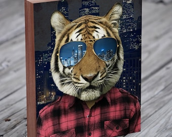 Chicago Tiger - Chicago Skyline - Wood Block Art Print