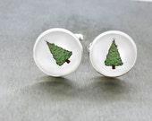 Christmas Tree Cufflinks Cool Cufflinks Holiday Season Cuffs Handmade Present For Him Christmas Gift For Men Green White Men's Accessories