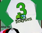 Green Garbage Truck Birthday Shirt - Garbage Truck Raglan Shirt - Big Number Birthday Shirt Personalized Long Sleeve Shirt with name age