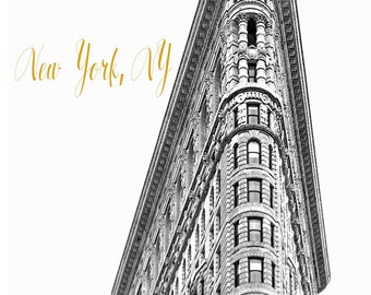 Art, Photography, New York Architecture, NYC, Flatiron, Black & White, New York City  Decor, City Print, Black, White, Gold Tone Lettering