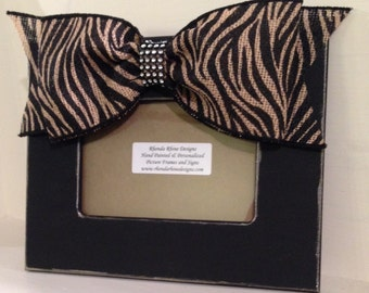 Black Hand Painted Frame with Zebra Burlap Bow