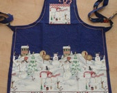 NEW Christmas Daisy Kingdom Peppermint Hill Snowman Full Apron Reversible