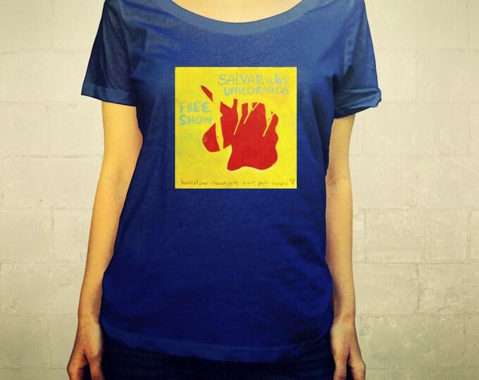 Save the Unicorns Poster No. 1 // Ladies Womens Tee Shirt, scoop neck, T-shirt, Illustration Horse, Pegasus, Save the Unicorns, Lisa Barbero