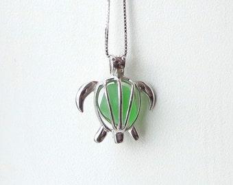 Sea Glass Turtle Locket Maris Stella Green Sterling Silver Honu
