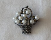Vintage Sterling Silver Marcasite and Pearl Flower Basket Brooch Sterling Silver and Pearl Flower Basket Pin