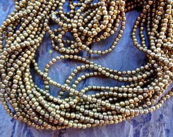 Round Brass Bead, 2mm, African Brass Trade Beads, Matte Brass, 25 Inch, Priced per Strand