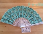 Wedding HAND FAN in Tiffany Blue, Turquise, Feng Shui Gift, Wedding Accessory, Lolita, Bride Bouquet, Photo prop, Made in America