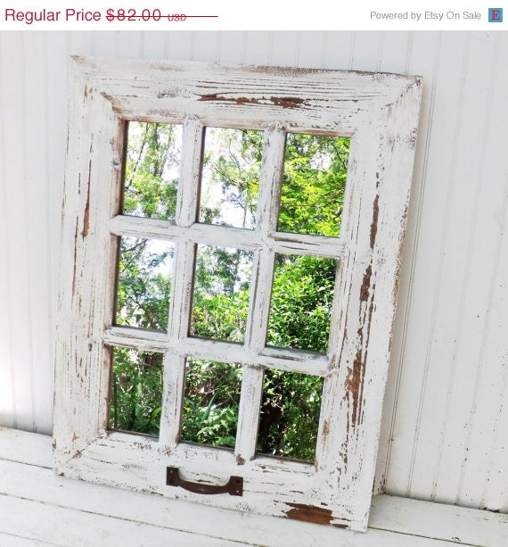 Spring sale rustic farmhouse window mirror by theshabbyshak for Window mirrors for sale