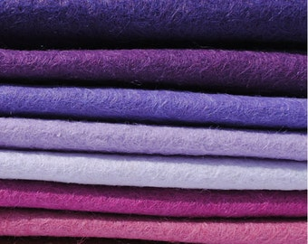 "Purple Haze 6"", 9"" OR 12"" Squares 10 Shades - Wool Blend Felt"