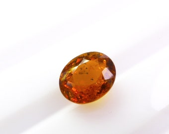 TOURMALiNE. Natural. Golden Orangey Yellow. Madagascar. Clean. Oval Native Cut / Micro Facet. 1 pc. 1.82 cts. 7x8x5 mm (TM2010)