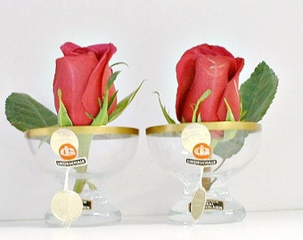 Vintage 24K Gold Trimmed Glass Vases with Labels 1960's Ingrid Glass Valentine's Day Decor Table Accessory