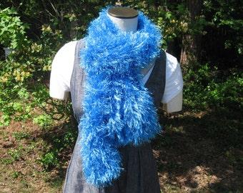 Bright sapphire blue\ fluffy boa scarf