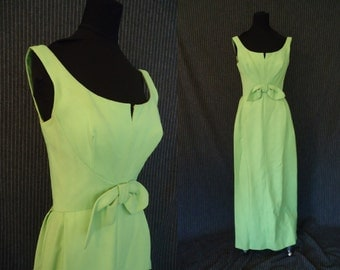 Lime Green Sleeveless Vintage 1960's Womens Column MAXI Party Dress XS S