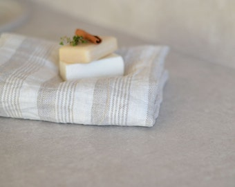 Gift Linen Towel Striped Bath Towel Natural Linen Towel Body Towel Eco Firendly Linen Towel Taupe And White Towel