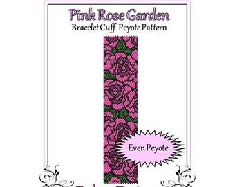 Bead Pattern Peyote(Bracelet Cuff)-Pink Rose Garden