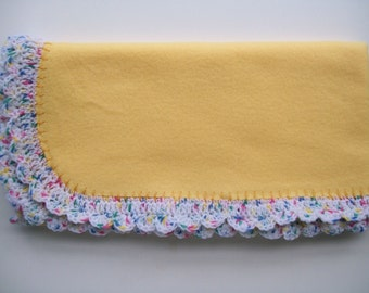 Yellow Fleece Baby Blanket, Crochet Edging