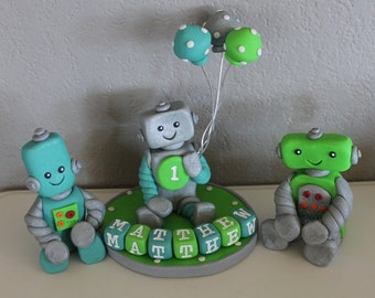 1 Large, 2 Small Custom Robot Cake Toppers for Birthday or Baby Shower