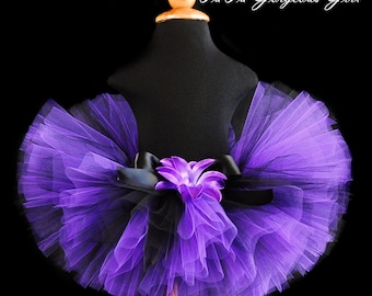 Girls Black and Purple Tutu...Rock Star Birthday Tutu, Spooky Halloween Tutu, Witch Tutu...Newborn to Adult Tutu Sizes