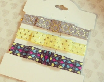 Bow Headband Set: Arrow Print + Lemon Dot + Silver Moroccan  {Newborn Baby Toddler Girl Adult} FOE Elastic + No Crease Hair Tie + Headwrap