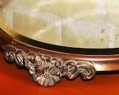 Vintage Plateau Beveled Mirror Dresser Decor, Ladies Makeup Table Vanity Stand, Victorian Era, Romantic Wedding Cake Plate