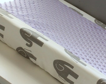 Gray & White Ele with accent lavender minky Contour Changing pad cover.
