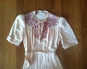 1930s Bohemian Dress Cream Crepe Beaded Embroidered Decorated Neckline