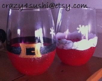 Two His and Her's Santa Wine Glasses Stemless Juice