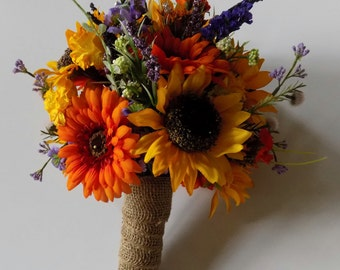 Wildflower Wedding Bouquet, Sunflower Bridal Bouquet, Bridesmaids Bouquet, Bout included with Bouquet, Fall Wedding Bouquet, Custom Order