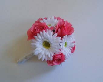 Coral Roses and White Gerbera Daisies, Coral and White Bridesmaids Bouquet, Coral and White Bridal Bouquet