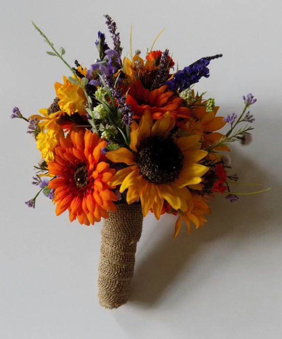 Wild Flower Wedding Bouquet: Wildflower Wedding Bouquet Sunflower Bridal Bouquet