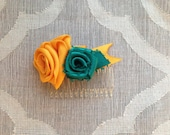 Ribbon Rose Hair Comb Mini - Yellow Teal