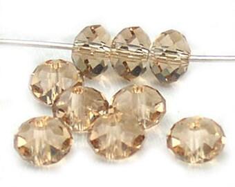 Swarovski Crystal Light Colorado Topaz Rondelle Beads No. 5040 6mm (6)