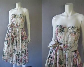 Vintage Strapless Rose  Dress - 80s Cream Chintz Floral Dress - Cream Full Skirt S
