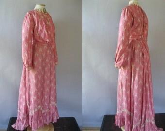 Authentic Edwardian Dress - Vintage 1900s 2 Piece Dress - Pink Silk Novelty Print Day Dress