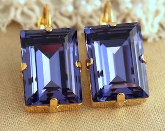 Purple Earrings,Purple Swarovski Drop Earrings,Purple Dangle Earrings,Emerald Cut Earrings,Bridal Purple Earrings,Gift for woman