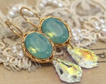 Mint Drop dangle earrings, Swarovski chandelier earrings, Crystal Mint gold drop earrings, Bridal jewelry, gift for her, bridesmaids jewelry