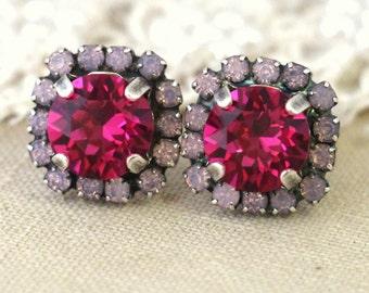 Pink Opal Fuchsia pink stud earrings - Gift for woman, Pink earrings, Fuchsia SIlver oxidized earrings, Swarovski stud earrings.