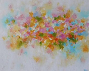 Abstract painting- pastel shades colors painting,soft colors,pink,coral , orange,Original Fine Art Acrylic, Artwork