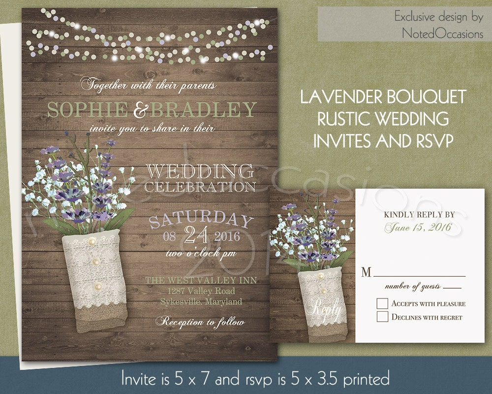 Rustic Wedding Invitation With Lavender Bouquet By