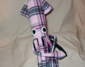 Adelyn the Pink and Grey Fleece Squid Stuffed Plush Ocean Marine Animal