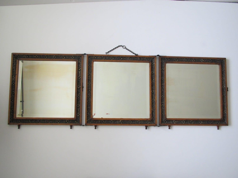 Vintage Tri Panel Mirror Vanity Mirror Folding By Margosmuse