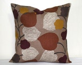 Brown Linen 18 x 18 inch Pillow Cover, Decorative Mid Century Modern Throw Pillow, Rust Cushion cover