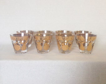 Culver Glassware Gold Fruit Pattern Old Fashioned Lowball Glasses - Set of 8