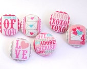 Love Stamps Magnet / Pushpin / Fabric Covered Button -  Office - Shank - Thumb Tack - Craft Button - Pushpin  - Love Notes - Heart