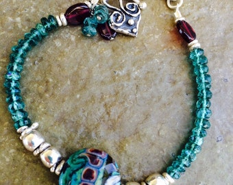 Aqua Appatite, Garnet, and Lampwork Bead Bracelet / Lampwork Bead / Sterling Silver