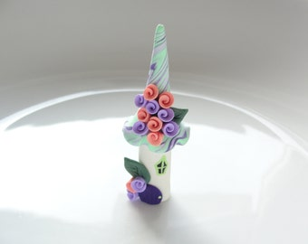 Miniature fairy house in salmon, lilac and mint green handmade from polymer clay