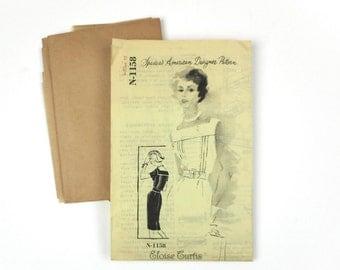 Vintage Womens Dress Pattern Unused Spadea N1158 1950s American Designer Eloise Curtis Size 12 35 Inch Bust Fashion Collectible Dressmaking
