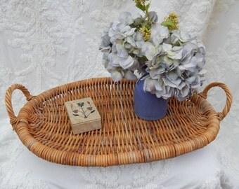 Large Primitive ANTIQUE Natural Woven Wood HANDLED TRAY ---Flower Picking Basket