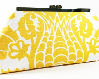 Clutch Bag Purse - Yellow White Amsterdam Wedding Clutch, Bridesmaid Clutches